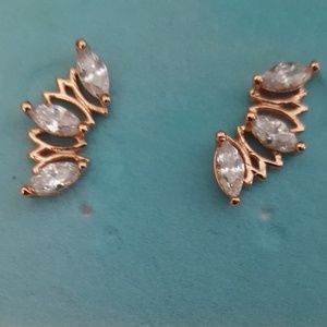 Marque cz and rose gold earrings